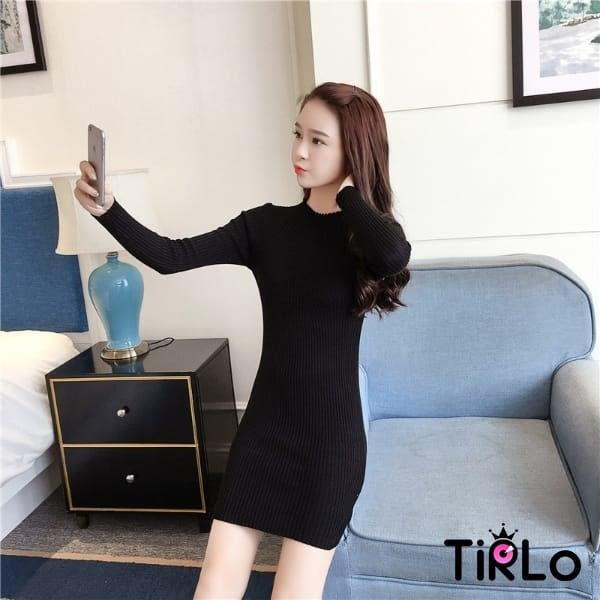 針織衫 -Tirlo-顯瘦針織長版打底連身裙-四色