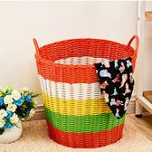 洗衣籃 臟衣籃臟衣服收納筐籃粗管塑料藤編臟衣簍洗衣籃玩具收納籃箱編織 igo 雲雨尚品