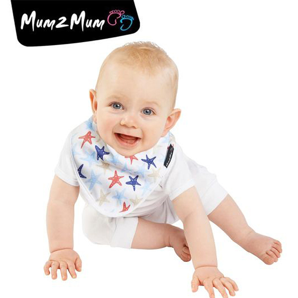 紐西蘭 MUM 2 MUM 雙面竹纖維棉機能口水巾圍兜 海星/藍條紋
