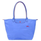 【南紡購物中心】LONGCHAMP Le Pliage Collection刺繡長把折疊水餃包(大/藍紫)