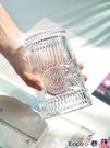 熱賣玻璃杯 浮雕金邊玻璃杯家用北歐復古水杯女簡約風喝水杯茶杯子啤酒杯 coco