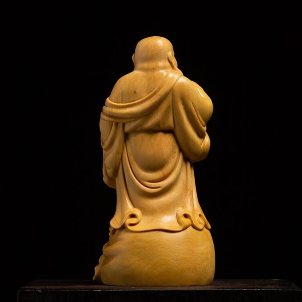 黃楊木雕客廳實木笑佛菩薩擺件雕刻手工藝品家用供奉大肚彌勒佛像