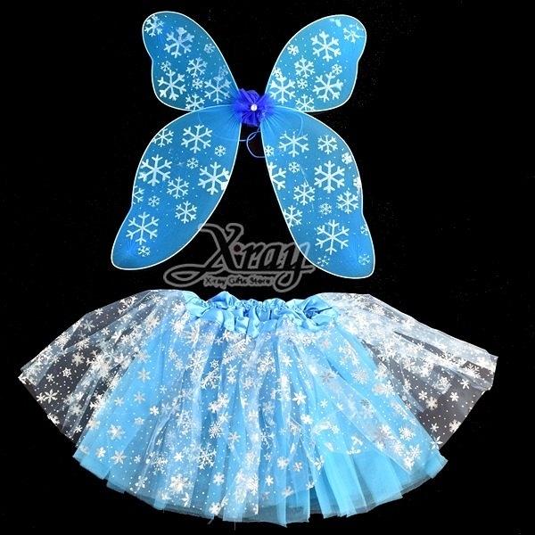 節慶王【W248450】藍雪花紗裙(2件套),萬聖節服裝/派對用品/尾牙表演/角色扮演/蝴蝶/翅膀
