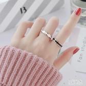 時尚玫瑰金窄版網紅黑白陶瓷戒指 男女情侶指環對戒尾戒食指飾品 FF4892【美好時光】