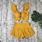 分體泳衣女兩件套性感鏤空小清新美背裙式平角少女游泳裝 快速出貨