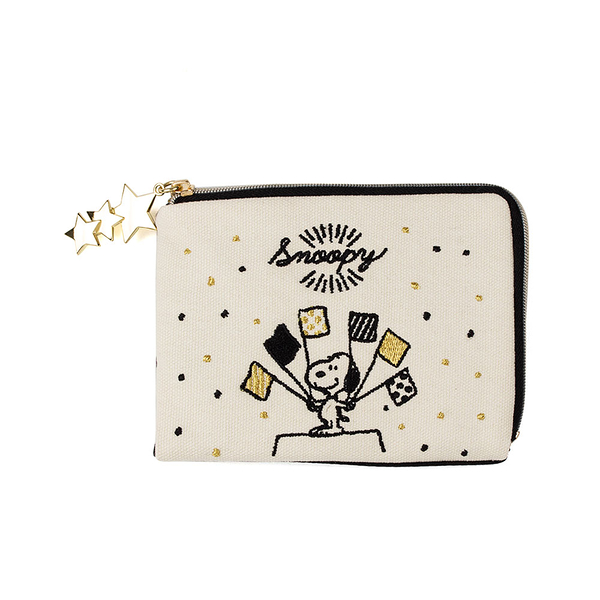 《SHO-BI》SNOOPY彩色派對系列帆布口罩面紙收納包(黑)★funbox生活用品★_SB04496