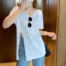 長款上衣 中長款V領白色上衣女夏季寬鬆設計感側開叉棉麻短袖上衣-Ballet朵朵