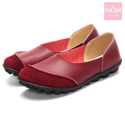 異材質拼接純色小圓頭舒適真皮樂福鞋 酒紅 *MOM*