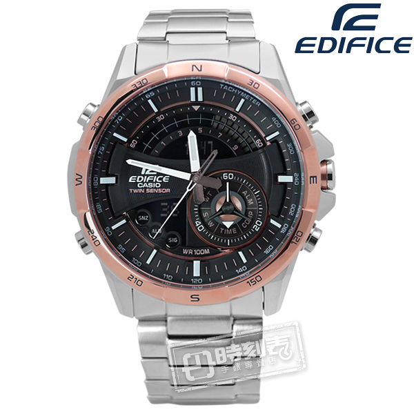 EDIFICE CASIO / ERA-200DB-1A9 / 卡西歐英式紳士不鏽鋼腕錶 黑x玫瑰金框 46mm