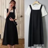 連身裙 大碼女裝夏裝新款吊帶裙遮肚子顯瘦套裝胖mm洋裝兩件套洋氣減齡