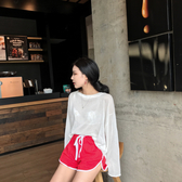 [超豐國際]條紋長袖t恤衫寬松港味chic慵懶風薄款透視空調1入