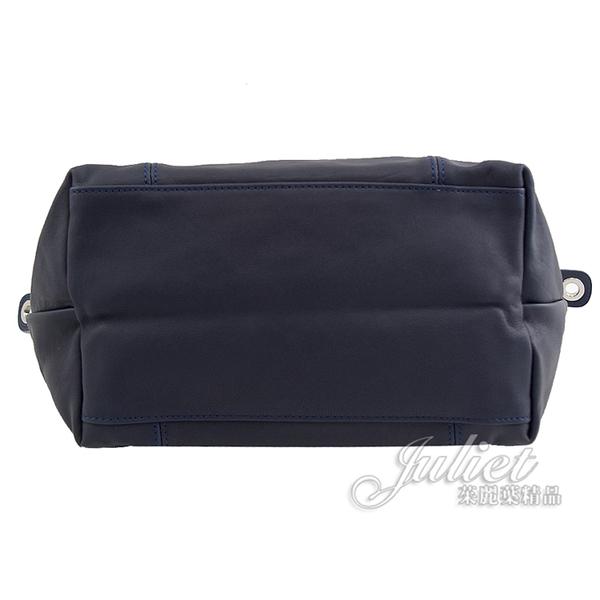 茱麗葉精品【全新現貨】 Longchamp Le Pliage Cuir 折疊小羊皮兩用包.深藍#1512