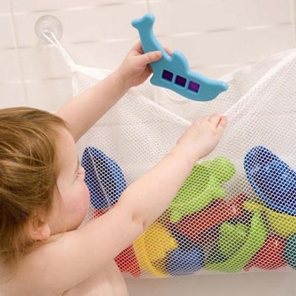 [拉拉百貨]兒童浴室玩具收納袋  寶寶洗澡戲水玩具網眼玩具 雜物收納 吸盤掛袋網袋