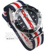 SKMEI 時刻美 英倫雙配色 潮流腕錶 帆布錶帶 造型 女錶/中性錶/男錶/都適合 紅x藍x白 SK9133-W5
