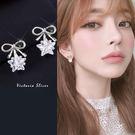 925純銀針  韓國優雅氣質  蝴蝶結冰...