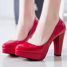 婚鞋女士夏季白色新娘鞋粗跟紅色高跟鞋大呎碼 XY2160 【KIKIKOKO】