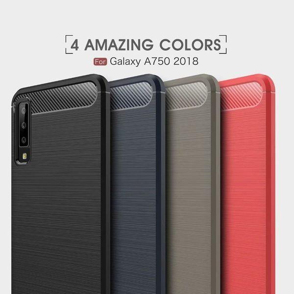 King*Shop~三星Galaxy A7 2018鎧甲碳纖維拉絲紋手機殼A750軟膠全包保護套三星A9 2018/A9s