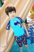 兒童泳衣男童泳褲套裝男孩分體小中大童小恐龍游泳衣寶寶送帽