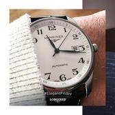 LONGINES Master巨擘系列機械男錶L28934786大三針日期顯示銀色面42mm