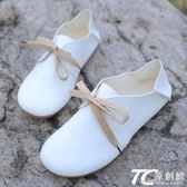 娃娃鞋/新款森系圓頭小白鞋平底兩穿娃娃鞋休閑文藝