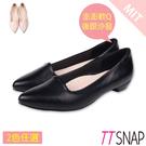 尖頭鞋-TTSNAP MIT羊紋後跟沙發真皮低跟鞋 黑/膚
