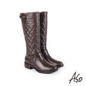 A.S.O 經典格紋 中性風真皮時髦長靴