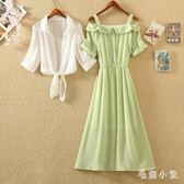 雪紡兩件式洋裝 2019夏季新款韓版一字肩牛油果綠收腰顯瘦洋氣連身裙JA7479『毛菇小象』