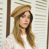 小眾日本草編貝雷帽子法式燒餅帽夏天男女純色文藝畫家帽