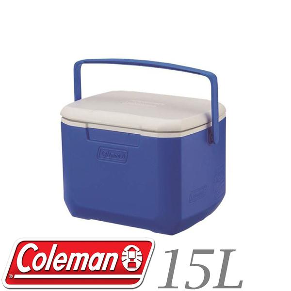 【Coleman 美國 15L EXCURSION海洋藍冰箱】CM-27859/冰桶/行動冰箱/保冰桶