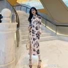 夏季新款改良版少女中長款開叉蕾絲復古旗袍年輕款氣質洋裝 檸檬衣舍