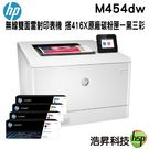 【搭416X原廠碳粉匣一黑三彩 ↘45190元】HP LaserJet Pro M454dw 無線雙面雷射印表機