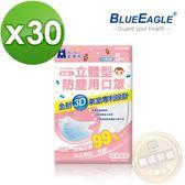 【藍鷹牌】台灣製白色幼童立體防塵口罩 5片*30包