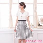【RED HOUSE-蕾赫斯】單排釦滿版花朵裙洋裝(共二色)