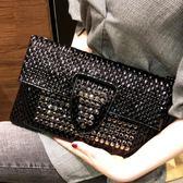 晚宴包韓版時尚手拿包信封包女2019手包鑲鑽小包手抓包個性宴會女包 愛麗絲精品