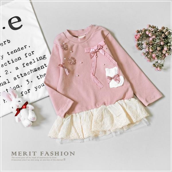 純棉 蝴蝶結貓咪花朵拼接布蕾絲長袖上衣 兒童 韓版 棉質 秋 保暖 裙襬 網紗 女童 哎北比童裝