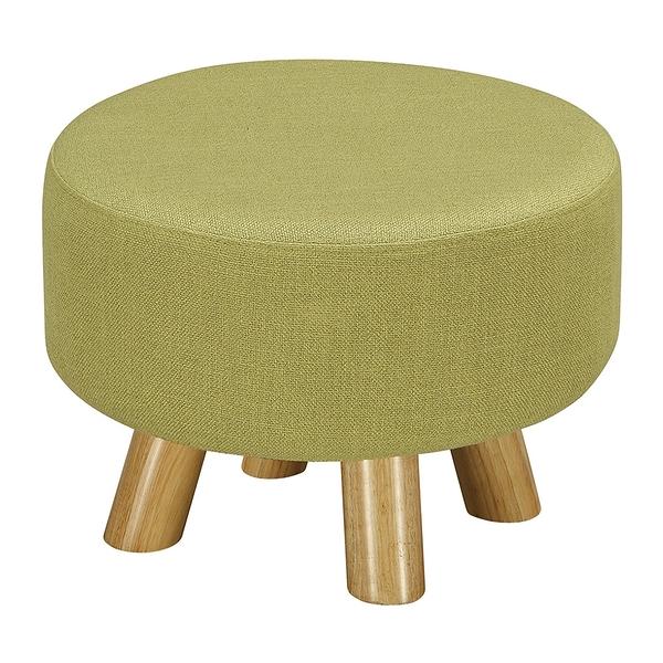 【森可家居】強尼綠色圓凳 8ZX560-12 麻布椅凳 實木腳 北歐風