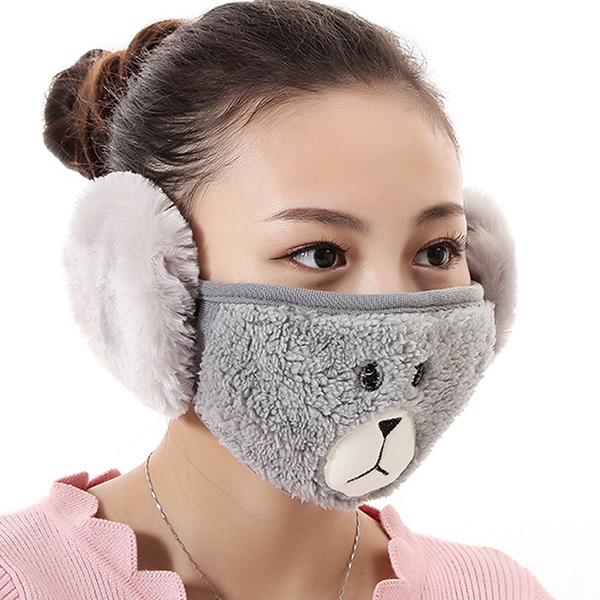 【獨愛3C用品】【買三送一】冬季必備保暖卡通造型小熊絨毛防塵口罩耳罩二合一(編號7/灰色)
