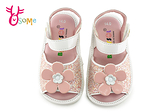 精品寶寶涼鞋 小童 晶亮閃閃 立體大花朵 學步涼鞋 台灣製 H6064#粉紅◆OSOME奧森鞋業
