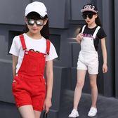 女童背帶短褲牛仔2018夏裝新款時髦外穿薄款中大童吊帶褲三角衣櫥