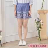 【RED HOUSE 蕾赫斯】單寧花朵短褲(藍色)