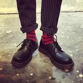 港風學生復古韓版英倫男鞋休閒軟面皮鞋潮男大頭鞋低幫馬丁靴黑色9 交換禮物
