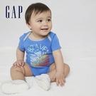 Gap嬰兒 布萊納系列 純棉小熊印花連身衣 786416-藍色