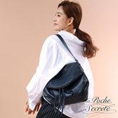 La Poche Secrete真皮 時尚韓風真皮編織垂墜肩側背包-深海藍