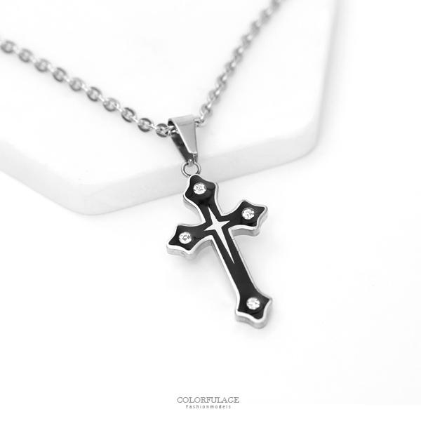 項鍊 水鑽黑十字架鋼製項鍊【NB813】單條價格