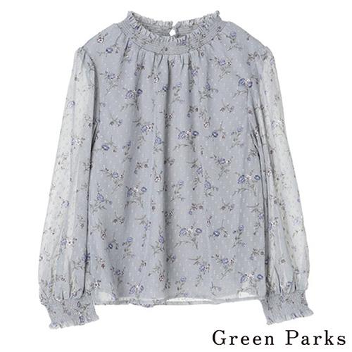 「Autumn」柔軟微透花朵設計上衣 - Green Parks
