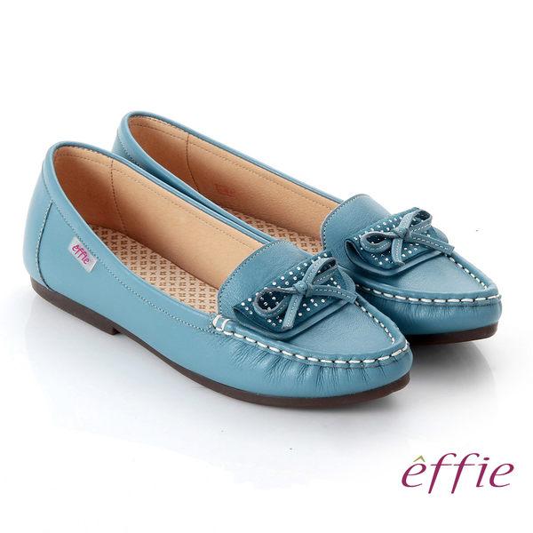 effie 手工縫線 牛皮細帶蝴蝶奈米平底休閒鞋 藍