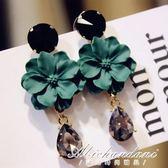 韓國耳環女氣質韓版時尚網紅耳墜長款花朵耳釘超仙水晶 黛尼時尚精品