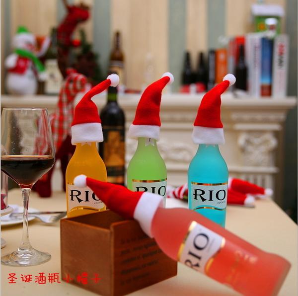 聖誕節裝飾用品 聖誕小帽子 酒瓶小帽子 聖誕小禮品─預購CH2499