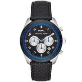 【台南 時代鐘錶 Michael Kors】MK8706 前衛藝術美感三眼計時腕錶 皮帶 黑 43mm