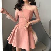 韓版氣質百搭綁帶收腰網紗拼接長袖A字包臀純色洋裝女 莫妮卡小屋